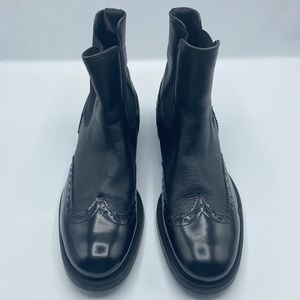 Boemos Black Leather Wing Tip Booties Size 8